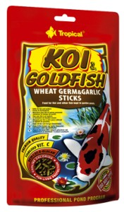 pokarm dla karpi koi złotych rybek wheat germ & garlic sticks 1l TROPICAL