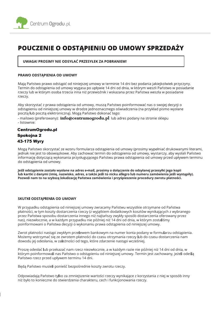 Odstapienie Od Umowy Centrumogrodu Pl Dystrybutor Sprzetu Ogrodniczego